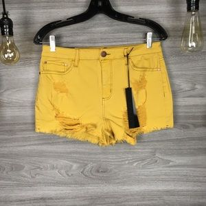 NWT Tinsel Yellow Distressed Shorts S29
